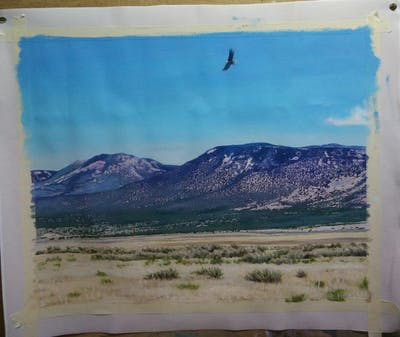 A painting of ecosystem, sky, mountainous landforms, wilderness, highland, mountain, shrubland, grassland, steppe, ecoregion