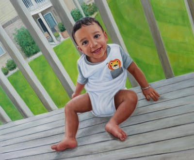 A painting of child, day, sitting, grass, toddler, vacation, leg, fun, summer, girl