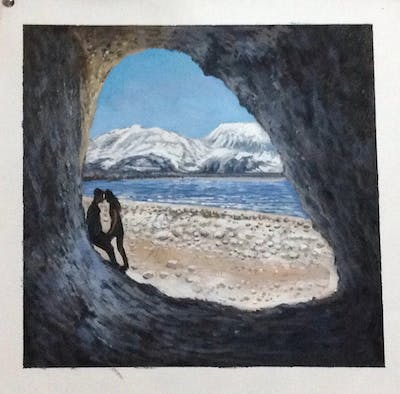 A painting of rock, sky, natural arch, formation, sea, mountain, sea cave, coastal and oceanic landforms, geology, arch