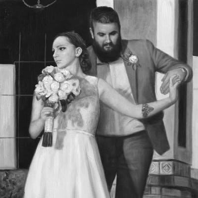 A painting of gown, bride, photograph, wedding dress, woman, dress, bridal clothing, marriage, black and white, wedding