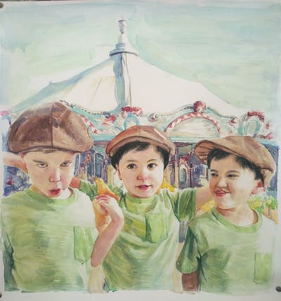 A painting of headgear, child, vacation, fun, tourism, hat, recreation, sun hat