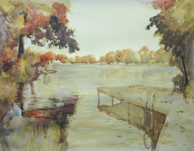 A painting of lake, water, waterway, body of water, reflection, loch, bayou, sky, river, reservoir