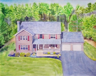 A painting of property, home, house, cottage, real estate, farmhouse, estate, roof, suburb, siding