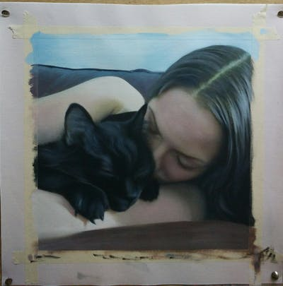 A painting of cat, black cat, small to medium sized cats, cat like mammal, whiskers, black hair, kitten, fur, snout, nap