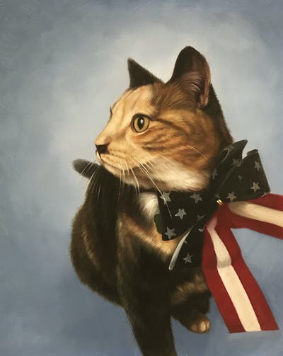 A painting of cat, whiskers, small to medium sized cats, cat like mammal, fur, domestic short haired cat, snout, kitten