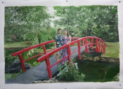 A painting of nature, leisure, plant, tree, nature reserve, botanical garden, water, park, recreation, garden