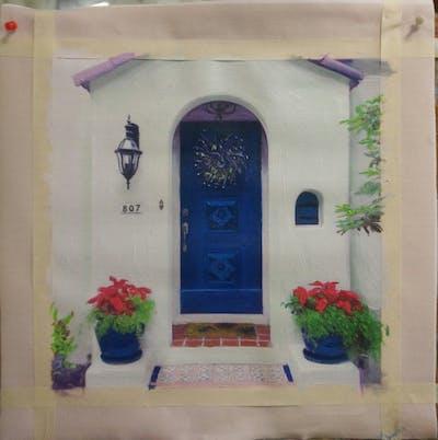 A painting of blue, purple, majorelle blue, door, window, facade, flower, house
