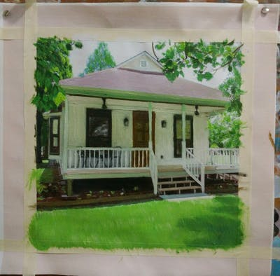 A painting of house, property, cottage, home, porch, real estate, outdoor structure, farmhouse, historic house, plantation