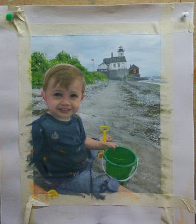 A painting of water, green, child, vacation, fun, sand, tree, play, recreation, travel