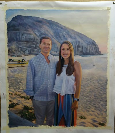 A painting of photograph, vacation, beach, fun, tourism, sea, smile, honeymoon, summer, girl