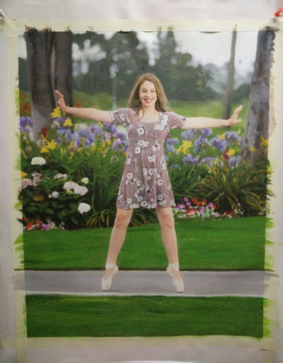 A painting of beauty, girl, lady, grass, fun, standing, leg, dress, summer, tree