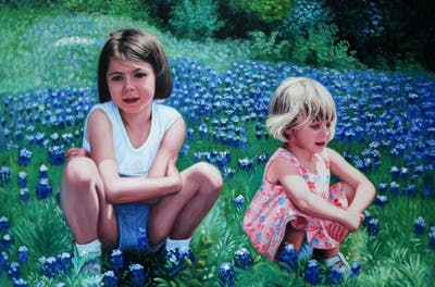 A painting of purple, fun, tree, summer, girl, happiness, vacation, flower, play, spring