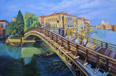 A painting of waterway, water, bridge, sky, water transportation, canal, city, river, tourist attraction, tourism