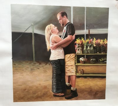 A painting of photograph, mammal, shoulder, standing, emotion, interaction, girl, fun, romance, love