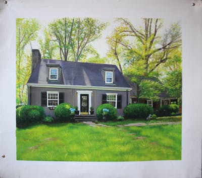 A painting of home, property, house, cottage, real estate, estate, siding, farmhouse, yard, roof