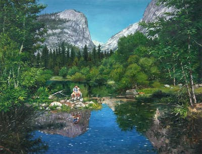 A painting of reflection, nature, wilderness, nature reserve, mountain, water, mountainous landforms, tarn, lake, mount scenery