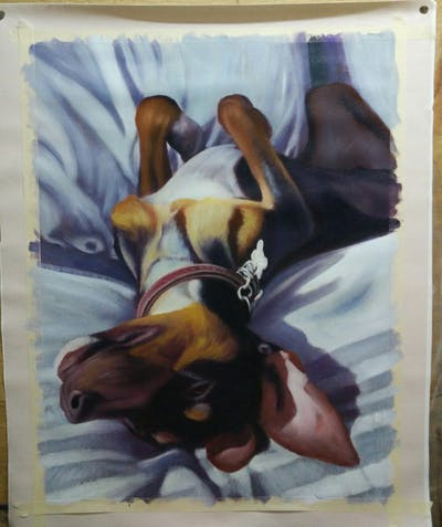A painting of dog, dog like mammal, dog breed, snout, dog crossbreeds, puppy, nap, puppy love, carnivoran, paw