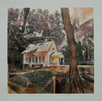 A painting of property, house, home, cottage, farmhouse, tree, real estate, estate, plantation, barn