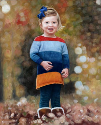 A painting of child, standing, headgear, girl, toddler, fun, autumn, smile, play, tree