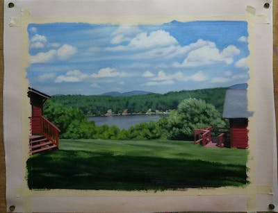 A painting of property, farm, home, sky, highland, cottage, land lot, rural area, real estate, estate