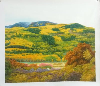 A painting of nature, ecosystem, wilderness, yellow, vegetation, leaf, nature reserve, shrubland, tree, hill