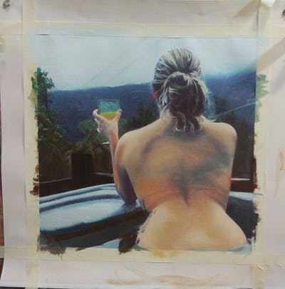 A painting of shoulder, back, girl, neck, arm, muscle, barechestedness, long hair, joint, chest