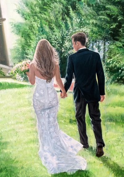 A painting of gown, photograph, wedding dress, bride, woman, dress, bridal clothing, wedding, ceremony, groom