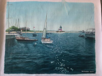 A painting of waterway, water, marina, sky, sea, boat, dock, sailboat, ocean, sailing