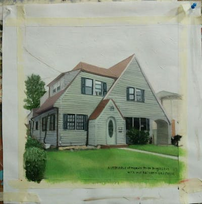 A painting of home, house, property, siding, residential area, neighbourhood, real estate, yard, estate, suburb