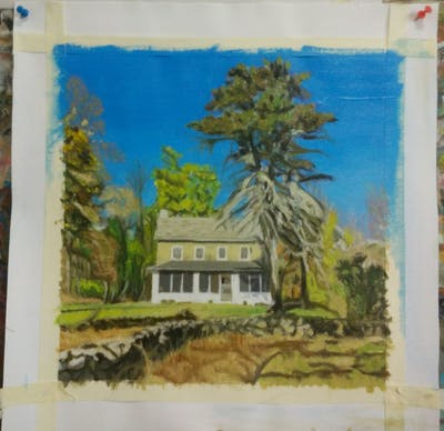A painting of property, home, cottage, house, tree, real estate, estate, farmhouse, mansion, sky