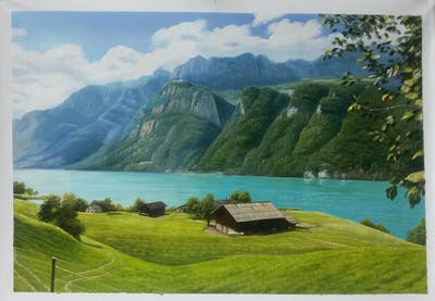 A painting of nature, highland, lake, mount scenery, nature reserve, mountain range, mountain, sky, reservoir, fjord