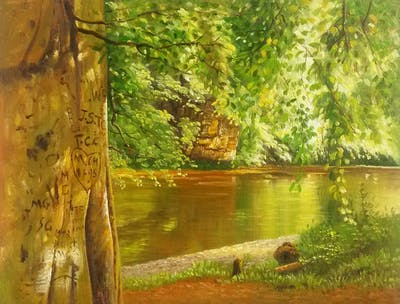 A painting of water, nature, vegetation, nature reserve, ecosystem, riparian zone, bank, riparian forest, reflection, tree