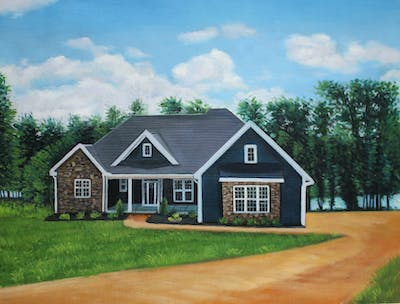 A painting of home, house, property, cottage, farmhouse, estate, real estate, siding, residential area, elevation
