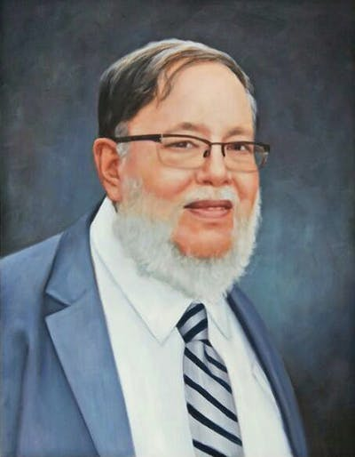 A painting of person, man, chin, facial hair, elder, forehead, glasses, senior citizen, vision care, beard