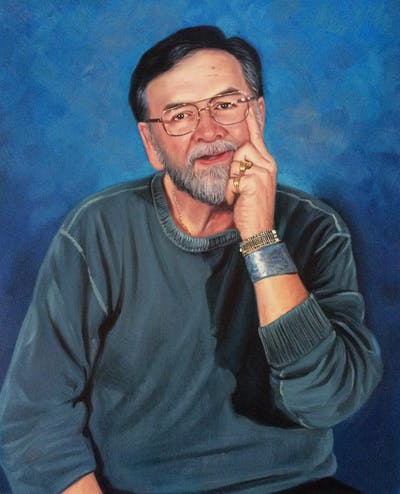 A painting of person, chin, vision care, facial hair, glasses, portrait, elder