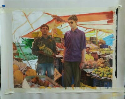 A painting of produce, marketplace, market, natural foods, food, local food, vendor, fruit, public space, greengrocer