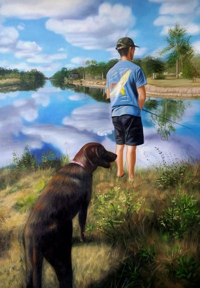 A painting of dog hiking, dog, adventure, dog walking, tree, trail, river, grass, recreation, landscape