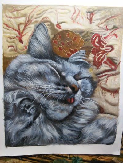 A painting of cat, whiskers, mammal, small to medium sized cats, fauna, cat like mammal, fur, tabby cat, maine coon, kitten