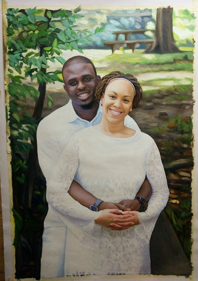 A painting of bride, photograph, woman, gown, bridal clothing, wedding dress, beauty, wedding, smile, ceremony