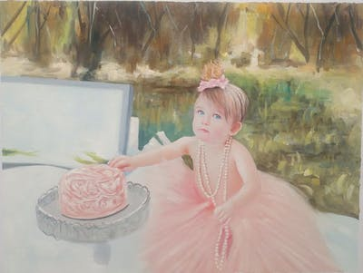 A painting of pink, skin, cake decorating, girl, wedding ceremony supply, gown, child, flower girl, toddler, sugar paste