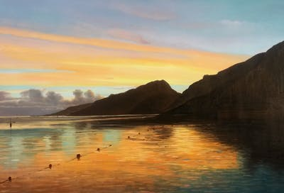 A painting of sky, nature, reflection, afterglow, sea, sunset, horizon, loch, sunrise, water