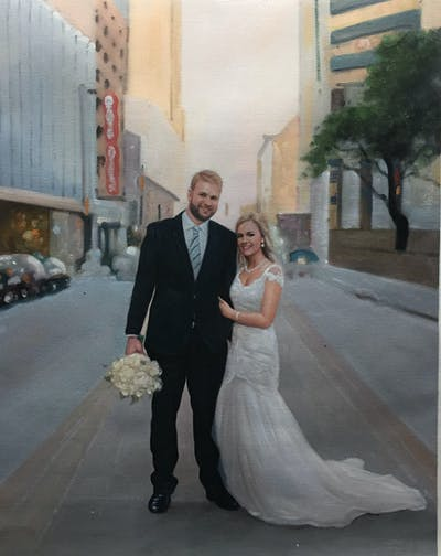 A painting of photograph, gown, bride, woman, wedding dress, bridal clothing, wedding, dress, groom, groom