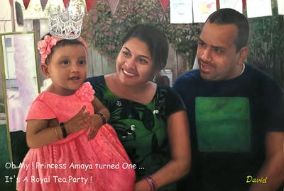 A painting of pink, day, child, fun, girl, event, party, recreation, smile
