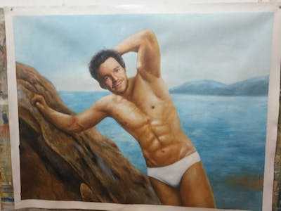 A painting of vacation, swimwear, male, barechestedness, muscle, leisure, summer, sea, chest, beach