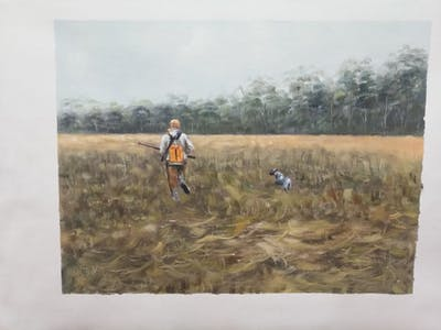 A painting of grassland, ecosystem, grass, field, prairie, path, meadow, pasture, tree, grass family