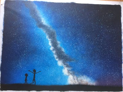A painting of sky, atmosphere, galaxy, astronomical object, atmosphere of earth, phenomenon, universe, night, astronomy, darkness