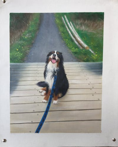 A painting of dog, dog like mammal, bernese mountain dog, dog breed, dog breed group, greater swiss mountain dog, entlebucher mountain dog, cavalier king charles spaniel, companion dog, snout