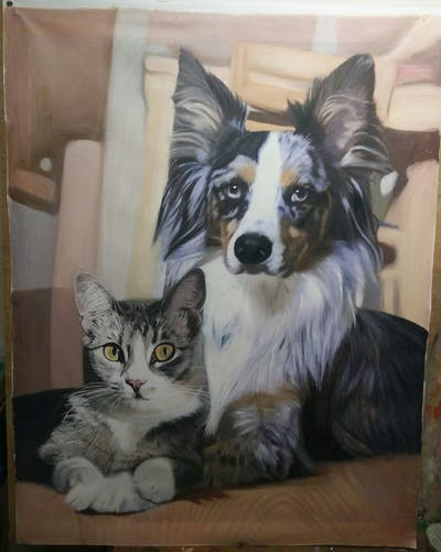 A painting of dog breed, cat, small to medium sized cats, dog breed group, whiskers, kitten, companion dog, snout, australian shepherd, cat like mammal