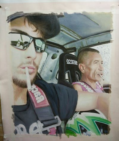 A painting of eyewear, product, car, sunglasses, vehicle, cool, selfie, arm, glasses, muscle