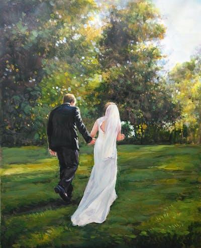 A painting of photograph, nature, woman, man, bride, dress, woodland, wedding, grass, male